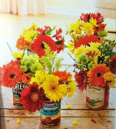 Reuse cans for flower vases