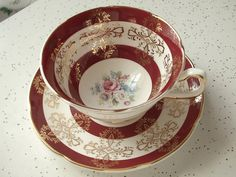 Antique Cup And Saucer Sets | vintage red tea cup and saucer set, Royal Grafton English bone china ...