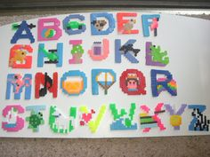 Items similar to Alphabet Perler Bead Creations A through Z. on Etsy Melty Bead Patterns, Pearler Bead Patterns, Pearler Beads, Fuse Beads, Beading Patterns, Bead Crafts, Fun Crafts, Arts And Crafts, Iron Beads
