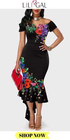 Black Asymmetric Hem Off the Shoulder Retro Flower Print Mermaid Party Dress - African fashion Latest African Fashion Dresses, African Dresses For Women, African Print Fashion, African Attire, Women's Fashion Dresses, Fashion Clothes, African Dress Designs, Fashion Swimsuits, Ankara Fashion