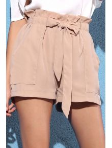 Pocket and Bowknot Design Chiffon Shorts