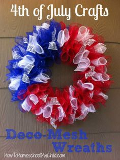 4th of July Crafts -SUPER easy deco-mesh wreath - Get directions from HowToHomeschoolMyChild.com