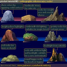 Official Post from Henk Nieborg: Misc. rock examples for sideview orthographic tileset. More rocks available in file download.