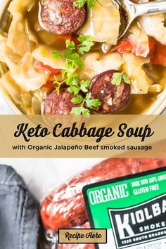 Green Cabbage, Cabbage Soup, Smoked Sausage Recipes, Beef Bone Broth, Beef Bones, Smoking Meat, Snack Recipes, Low Carb, Keto
