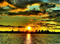 Sunset over Boston from Castle Island in Southie