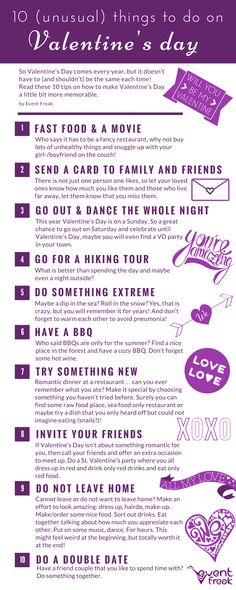 10 unusual things to do on Valentine's day! Find some awesome ideas and activities which you can do with your boyfriend/girlfriend or a beloved one on Valentine's day!