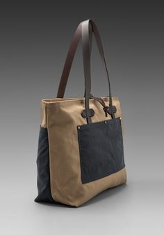 FILSON Large Zip Tote in Navy/ Tan - Bags