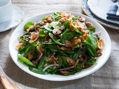 Warm Spinach Salad with Pancetta Dressing Recipe : Food Network Salad Bar, Soup And Salad, Salad Bowls, Vinaigrette, Warm Spinach Salads, Chefs, Cooking Channel Shows, Salad Recipes, Kale