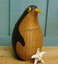 Vintage Woven Penguin Basket: