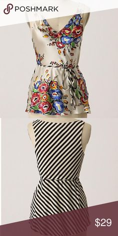 """Anthropologie Tiny Buds & Stripes Top Small Silken flora merges with jersey stripes for an opposites-attract take on Tiny's flowy tank. Silk, cotton  Hand wash  25""""L Comes from a smoke and pet free home.   Style No. 013004 Anthropologie Tops Blouses"""