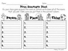 Free noun printables.