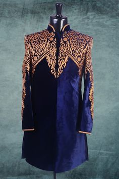Royal #blue #velvet Applique work Indo-western #Sherwani -IW169