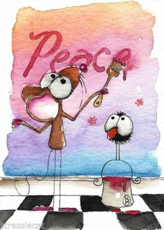 ACEO Original Watercolor Folk Art Whimsical Painting Mouse Crow Paints Peace   eBay