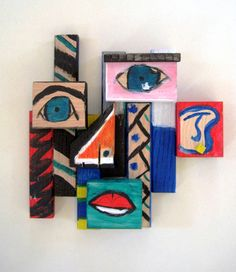 201Picasso wood scrap sculptures*optional art room activity-adapt this by representing at least 3 different feelings with the sculpture by mod podging facial features cut from magazines; see how many additional feelings they can identify simply by experimenting with different positioning of the blocks~bcp