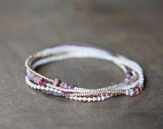 Beaded Wrap Bracelet with Tourmaline Boho Chic by MoonLabJewelry