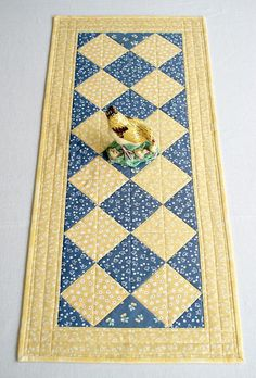 Quilted Summer Table Runner Chicken Yellow Denim Blue