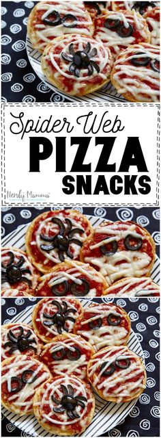 Oh, the kids are going to love this Halloween appetizer recipe for Sider Web Pizza Snacks. Seriously--this recipe is good.