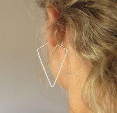 Sterling Silver Tringle Hoop Earrings - Sterling Silver Modern Jewelry - Fashion Trends 2014 #NadinArtDesign #Hoop