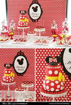 MINNIE Mouse Birthday Party Printable Set - Birthday Invitation, Cupcake Toppers, Favor Tags and more on Etsy, $25.00