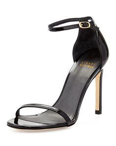 Stuart Weitzman Nudistsong Patent Ankle-Strap Sandal, Black @ Neiman $398