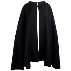 Preowned 1960s Pierre Cardin Iconic Black Wool Cape With Silk Lining (2.470 BRL) ❤ liked on Polyvore featuring outerwear, jackets, cape, cloak, black, wool cloak, pierre cardin, wool capes, cape coat and cape cloak