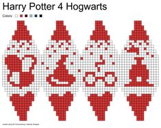 Julekuler, Harry Potter Hogwarts I: coat of arms, Sorting Hat, glasses & scar, Hogwarts Express Xmas Cross Stitch, Beaded Cross Stitch, Cross Stitch Patterns, Crochet Patterns, Harry Potter Knit, Cross Stitch Harry Potter, Hogwarts Christmas, Plastic Canvas Ornaments, Knitted Christmas Stockings