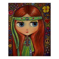 Shop Peace Hippie Doll Mouse Pad created by Blonde_Blythe. Looks Hippie, Hippie Love, Hippie Chick, Hippie Style, Hippie Peace, Hippie Things, Boho Hippie, Eye Art, Big Eyes