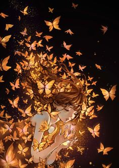 Glowing butterflies girl anime illustration