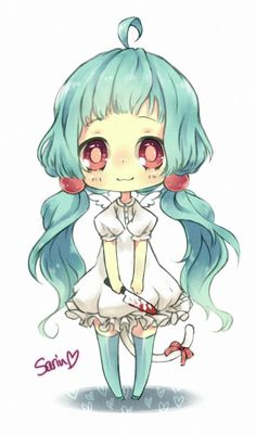 chibi girl with blue hair, cute and a little creepy