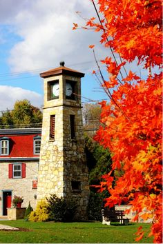 HDR photo, Boiling Springs, Pa  Fall, 2012  -  Boiling Springs Tavern & clock tower