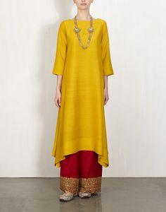 Yellow Kurta With  Embroidered Pants-Lajjoo