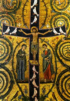 Crucifix from San Clemente, Rome. 12th century mosaic.