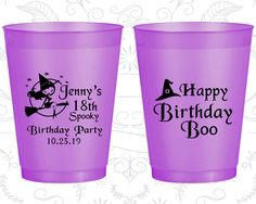 18th Birthday Frosted Cups, Halloween Birthday, Happy Birthday Boo, Spooky Birthday, Frosted Birthday Cups (20081) by MyWeddingStore on Etsy