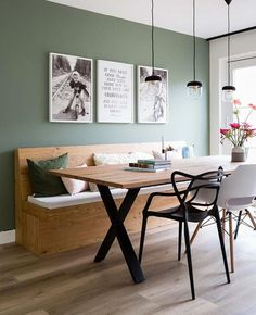 Home Interior Design — Green dining Dining Room Decor green dining room decor Green Dining Room, Dining Room Bench, Dining Room Design, Green Kitchen Walls, Dining Room Wall Art, Dining Room Colors, Interior Design Living Room, Living Room Decor, Interior Paint