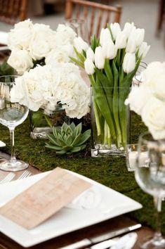 tulips, succulents, hydrangea
