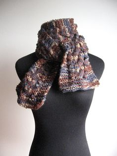 Hand Knit Scarf Heather Cable and Lace Navy Brown by KnitsByNat