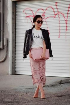 pink lace skirt and leather jacket