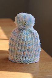 Ravelry: Loom Knit Puff-Ball Infant Hat pattern by DIY Maven