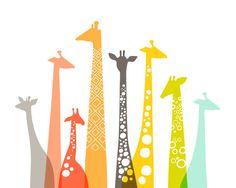 "10X8"" giraffe silhouettes landscape giclee print on fine art paper. mint, olive, coral, orange, gray, rainbow on Etsy, $19.00"
