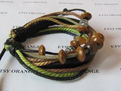Real Leather  and Multicolour Bead /Multicolour by sevenvsxiao, $4.00
