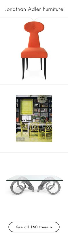 """""""Jonathan Adler Furniture"""" by roo-roo-lu ❤ liked on Polyvore featuring home, furniture, chairs, dining chairs, keyhole dining chairs, red dining chairs, woven furniture, jonathan adler chairs, jonathan adler and tables"""