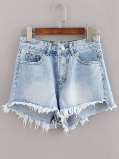 Raw+Hem+Light+Blue+Denim+Shorts+13.99