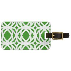 #Abstract pattern - green and white. bag tag - #travel #accessories
