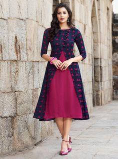 Indo Western Dresses, Gowns, Kurtis, Tunics for Women Online Simple Kurti Designs, Kurta Designs Women, Model Rok, Frock Models, Churidhar Designs, Frock Patterns, Ikkat Dresses, Frock For Women, Afghan Dresses
