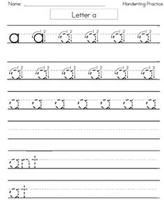 "FREE Printable handwriting worksheets with practice letters on ruled lines in the Zaner Bloser style. You'll notice that the letters include straight lines and circles instead of ""tails"". The first worksheet shown includes all 26 letters. Below that, you'll find one sheet for each letter."