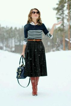 How to wear midi skirts in winter, check www.spreemag.blogspot.com for more details