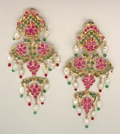 Indian gold, ruby, emerald, Biwa pearl and glass bead earrings