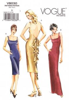 Vogue Sewing Pattern 8030 Misses Size 18-20-22 Easy Formal Evening Gown Dress