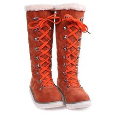 Concise Lace-Up and Suede Design Women's Snow Boots