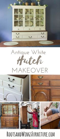 Antique hutches have amazing detail, it's a big project to paint one, but what a difference it makes! See how we transformed this hutch using General Finishes Antique White Milk Paint! See full tutorial inside! Household Furniture, Painted Furniture, Home Furniture, Furniture Decor, Refinishing Furniture, Home Decor, Diy Furniture Projects, Home Diy, Furniture Makeover